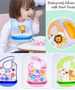Waterproof Silicone Baby Bibs Silicone Bibs with Bowl Pocket Feeding Toddler Infant Unisex BPA Free