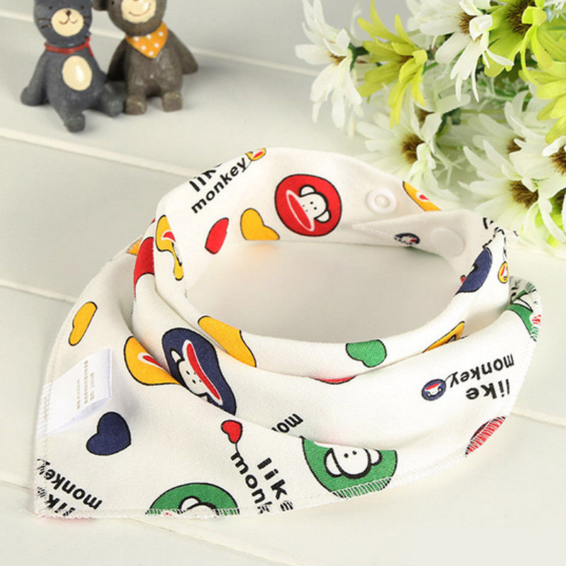 Cute Baby Triangle Bib with Button Tikon Bib Kids Cotton Bandana Bibs Feeding Saliva Towel Dribble Triangle Toddler