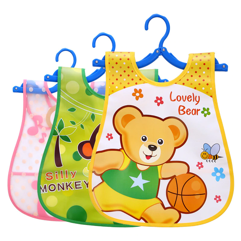 Plastic Waterproof Adjustable Baby Bibs Lunch Feeding Bibs Baby Cartoon Feeding Cloth