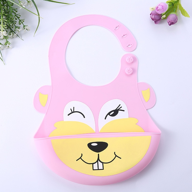 High Quality Imported Baby Silicon Waterproof Bib Cartoon Design Teething Bibs Waterproof Silicone Baby Bib With Food Catcher Bowl
