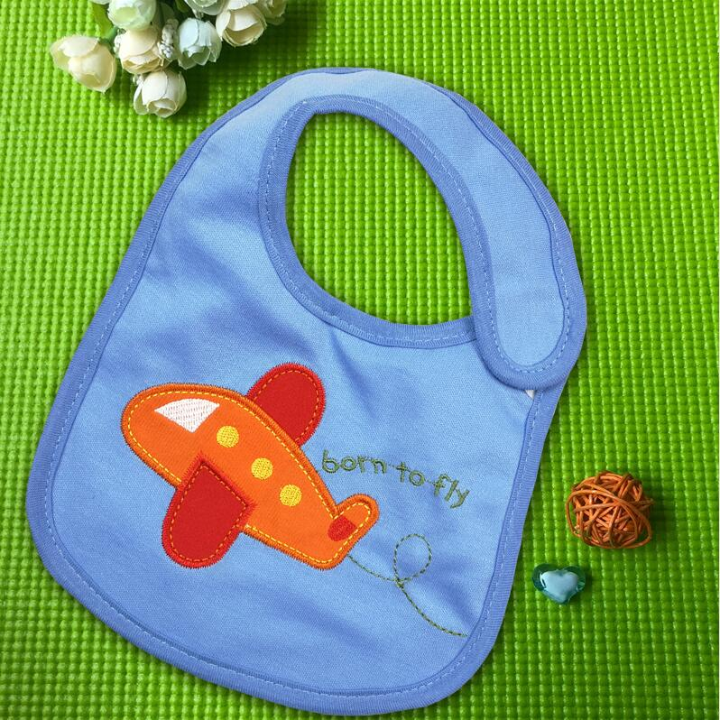 100% Cotton Waterproof Baby Bibs with Embroidered Prints Adjustable Magic Tapes Bibs & Burp Cloths